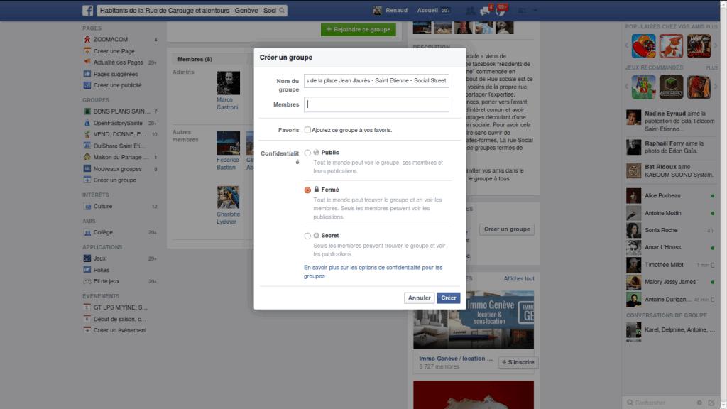 Groupe fermé Facebook